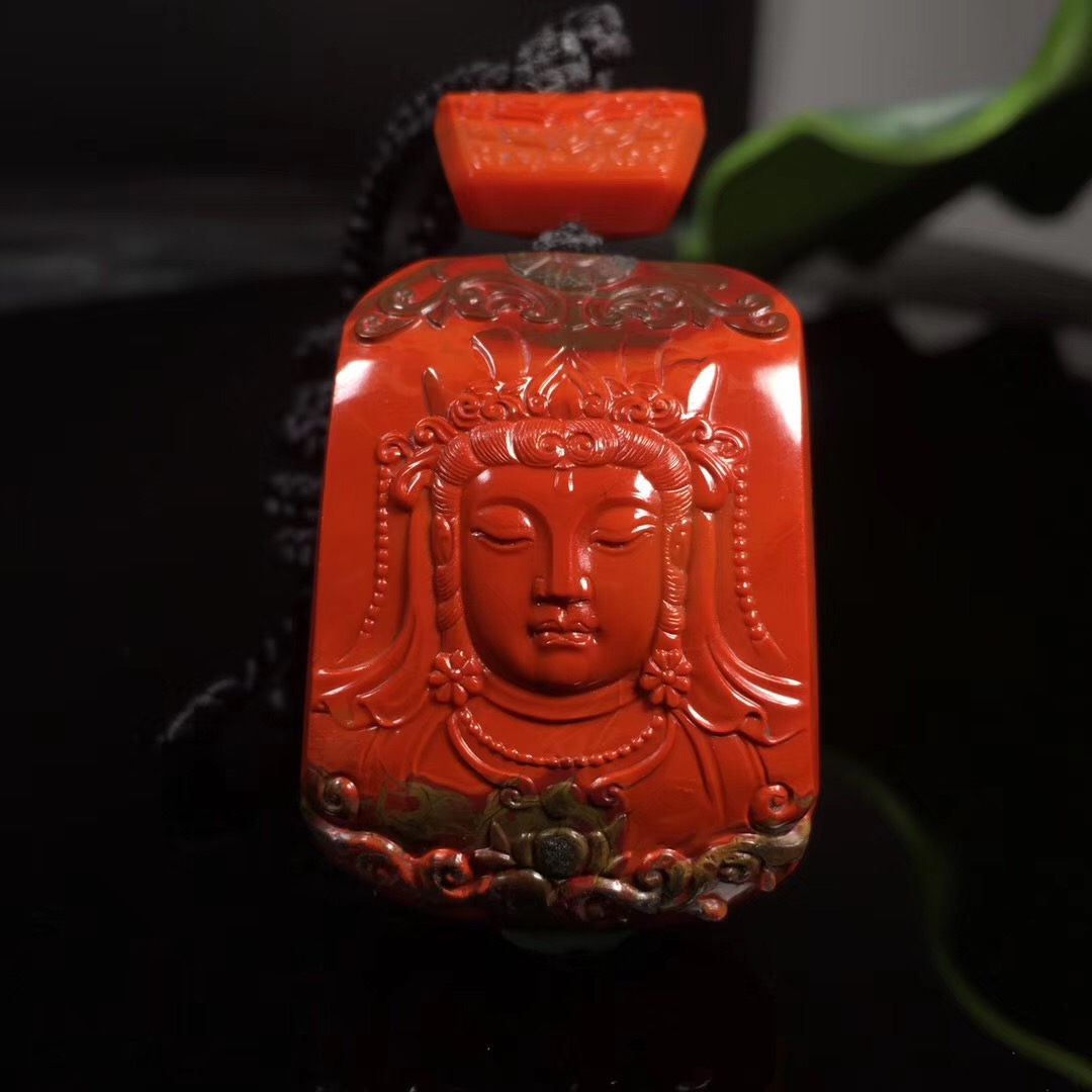 South red agate bag pulp Jin Hongguanyin hanging brocade red full meat carver three-dimensional live broadcast between payment super-link