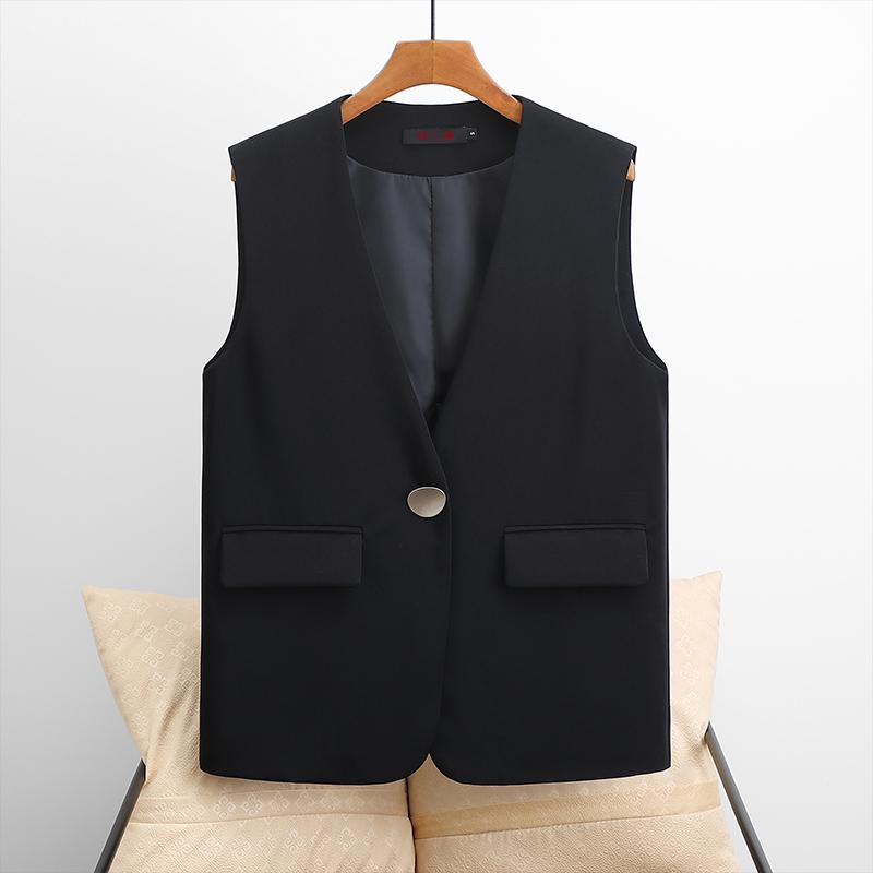 Spring suit vest women short 2021 spring and autumn new item loose Korean version wild V-neck thin vest jacket women