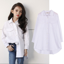 Girls white shirt Korean version of the new loose long section of the long section of the port wind in the Big child shirt fashionable tops