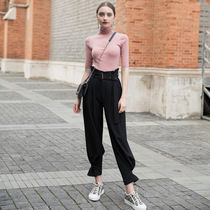 Flower bud pants women high waist autumn radish pants leisure work attire foot bloomers black baggy paper bag harem pants women