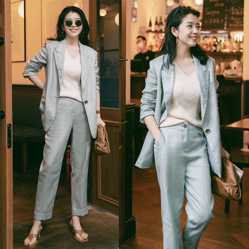 Miki blogger with the same casual suit suit women 2021 spring and summer fashion cotton and hemp temperament fried street suit two sets