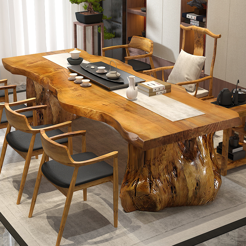 New Chinese tea table solid wood large board tea table table stool combination tea table living room tea table and chair kungfu 1 meter 8 tea table
