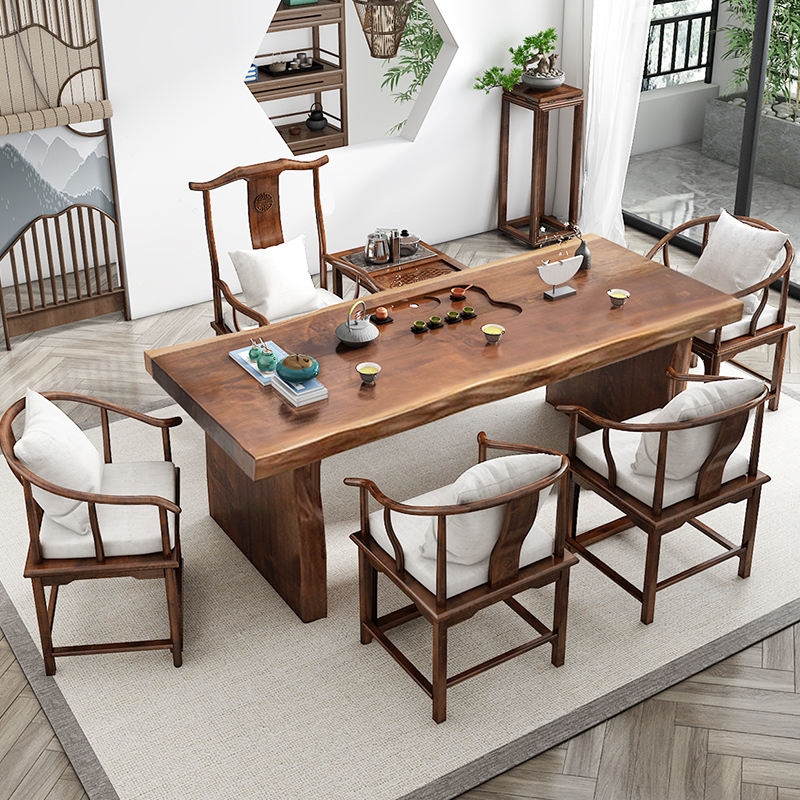 Tea table solid wood tea table new Chinese kung fu tea modern tea table and chairs combination of wood board guests to negotiate