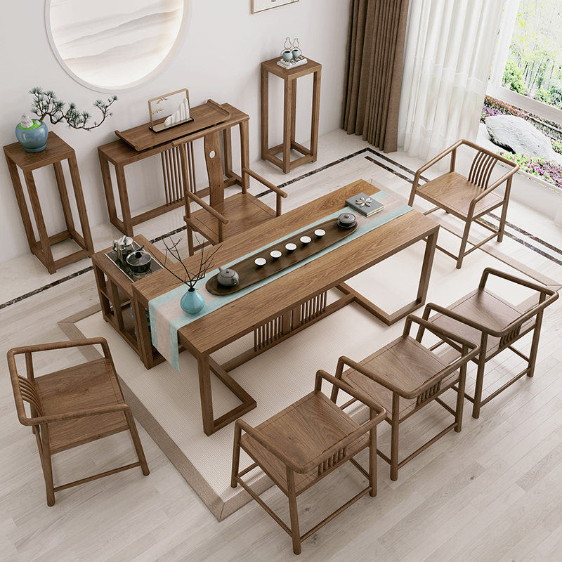 Solid wood large board tea table and chair combination of wood-colored new Chinese 1 meter 8 balcony Zen tea table home kung fu tea table