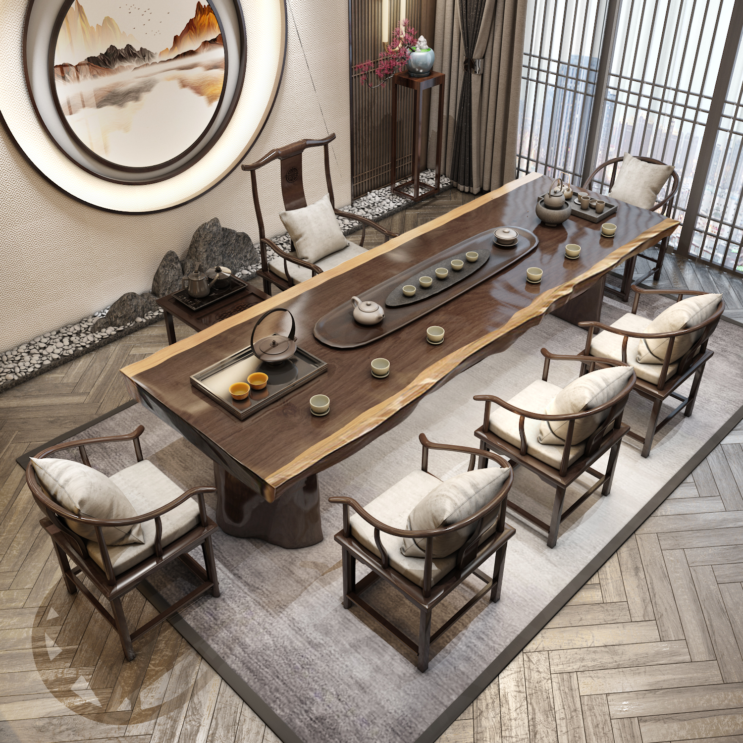 Tea table Solid wood tea table 1 m 8 new Chinese kung Fu tea modern simple tea table and chair combination of wood large board table