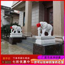 Каменные слоны вырезанные из китайского белого нефрита у ворот двора чтобы поставить виллу отель поглощает богатство фэн-шуй слона у входа в город