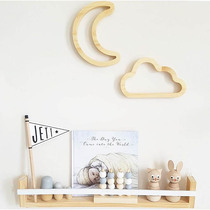 INS explosion children's room solid wood hollow cloud shape ornaments bunny Moon wall decoration creative Wall Decorations