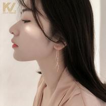 Cold wind earrings 2021 new tassel ear line womens sterling silver earrings net red temperament long Korean earrings trend