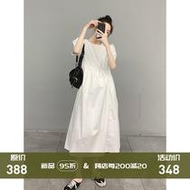Haut de gamme blanc robe dété niche designer Hepburn style français bulle manches grande taille longue robe enfants dété