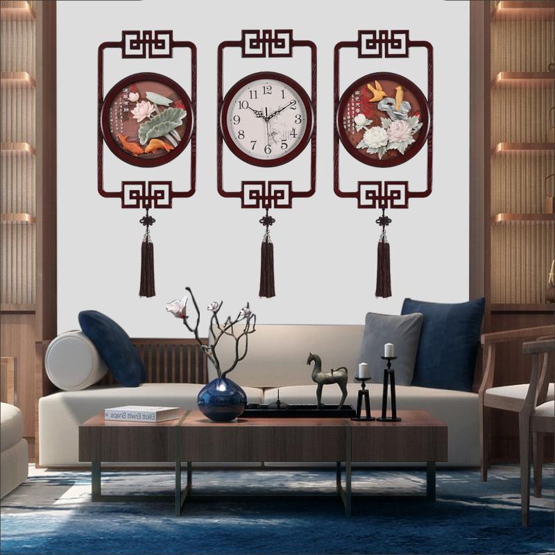 Horloge Wall Clock Living Room Creative Wall Clock Chinese Wind Square Clock New Chinese silent jade carving decorative quartz clock
