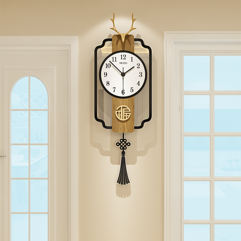 The new Chinese-style 錶 wall clock living room net red creative personality light luxury Nordic home fashion atmospheric clock wall