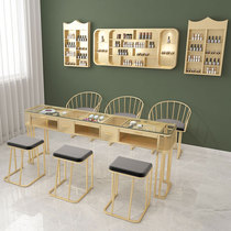 New nail table and chair set Single and double three-person nail table Nail table special double glass simple marble