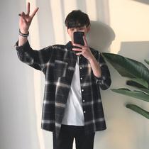 Loose plaid shirt mens long sleeve casual Korean version of the trend 2020 spring coat jacket Hong Kong wave brand mens clothing