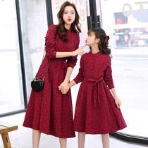 Родитель и сын ретро платье Air 2020 новое длинное платье тонкая весна и осень платье мать и дочь платье корейская версия