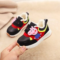 Good childrens shoes 2018 autumn and Winter new boy plus velvet toddler shoes girls soft non-slip shoes baby cotton shoes