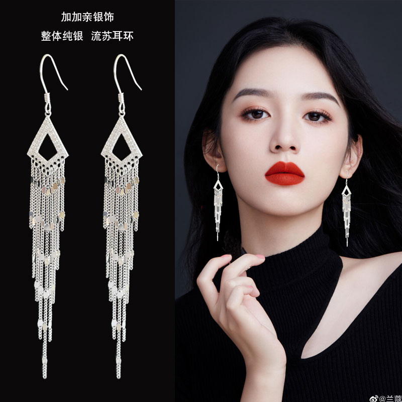 Premium earrings 2021 new tide 925 pure silver geometric sequins show thin anti-allergy winter earrings