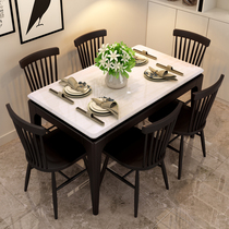 Nordic marble dining table simple modern living room fire stone dining table and chair combination rectangular solid wood household dining table