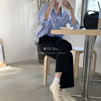 Korean Chic early spring new designer cooperation yi will buy legs long thin wild casual pants