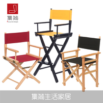 Custom Outdoor solid wood director Chair folding chairs home computer Chair portable bar high-footed makeup chair backrest chair