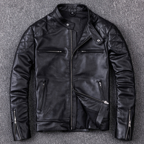 Clearance first layer of leather leather stand collar large leather jacket