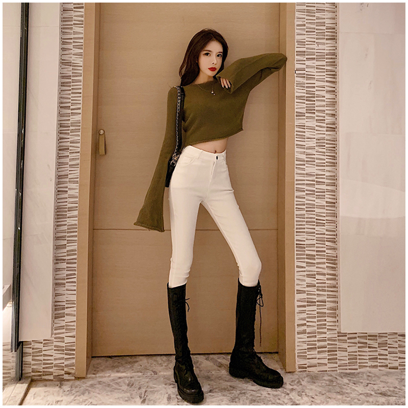 2020 new beige high-waisted jeans womens winter elastic Korean version plush plus thick stylish small foot pencil pants