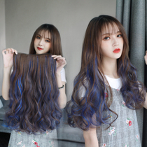 Pick dyed 髮 piece female one-piece simulation of the indented gradual layer color u-髮 large wave long curly hair.