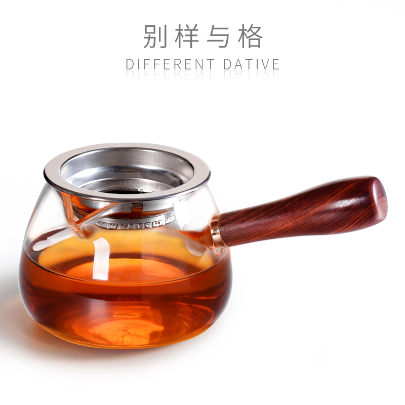 Wood glass fair cup tea leak all-in-one tea ceremony tea cup Japanese-style high-grade thickening heat-resistant side put a single