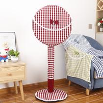 风扇罩布艺防尘罩家用格子布全包电风扇罩套落地式圆形通用风扇套罩