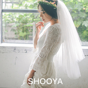 Spot retro trip shoot recommended bride veil double comb can face short veil super temperament