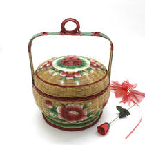 Chaoshan pure hand-painted bamboo basket Wedding Basket bamboo woven basket to accept blue storage basket traditional bamboo ornaments
