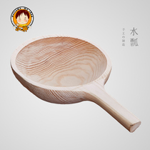 Whole pieces of solid wood make rice spoons without rice fir large water lady sauna wooden tea ceremony water spoon