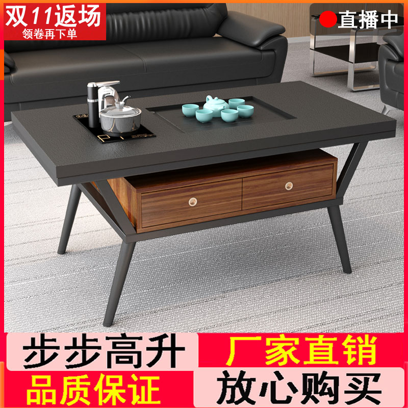 Office kung fu coffee table modern simple fire stone tea table with cabinets to make tea table tea table teapot fully automatic water