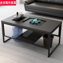 Office Gongfu tea set Stainless steel modern simple tempered glass coffee table fire stone Gongfu tea set automatic