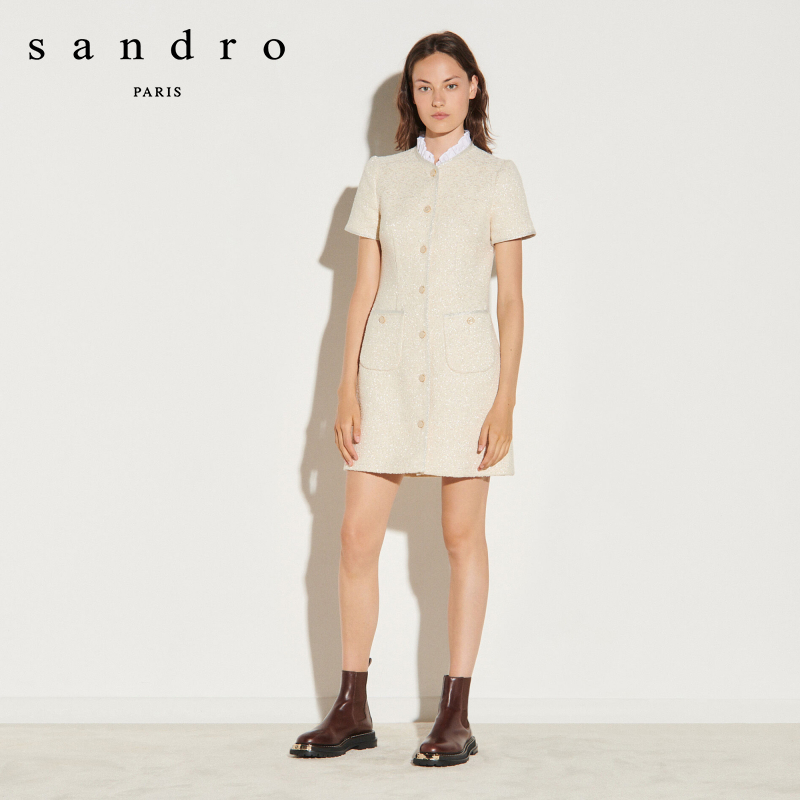 Sandro 2020 autumn / winter new women's Lotus collar sweet tweed cream dress sfpro01249