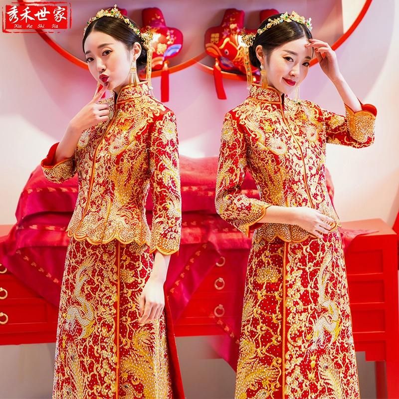 Show clothes 2020 new wedding dragon phoenix hanging bride female Chinese wedding dress wedding dress toast dress Chinese wind
