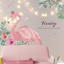 Flamingo Wallpaper Self-adhesive wall sticker stickers ins Room Dorm renovation supplies net red bedroom layout