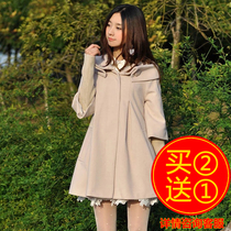 2016 autumn and winter woolen coat women in the long paragraph loose large size Korean version of the fashion cape students woolen coat coat tide