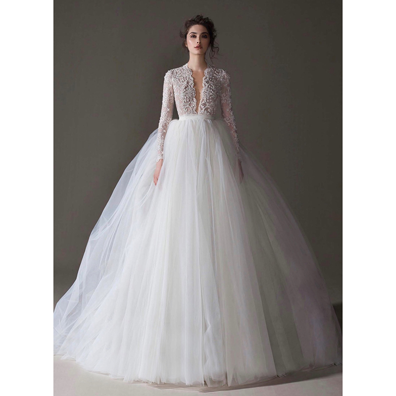 Main wedding dress 2020 new super fairy dream luxury one word shoulder slim long sleeve trailing spring bride wedding dress