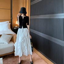 SANDRO Moscoloni summer fresh and fashionable foreign style age reduction and thin temperament Royal sister two-piece suit skirt