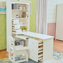 American children corner desk with bookcase bookshelf combination of European-style all solid wood white girl Male 1 5 meters