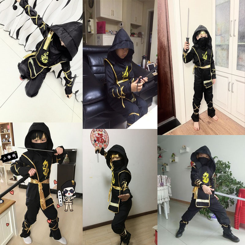 Cosplay Clothes,Halloween Clothes,Halloween Children's Clothing Boy Cosplay Costume Steal Ninja Set Samurai Suit Naruto Clothes