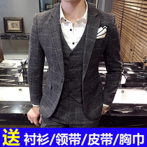 Mens plaid Korean slim British style suit suit