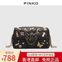 Swallow bag PINKO2020 new leather high diamond chain womens sloping one-shoulder underarm bag