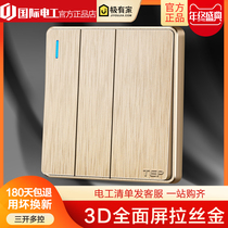 Household large switch socket panel 86 type lamp switch button three triple wall tap three open multi-control