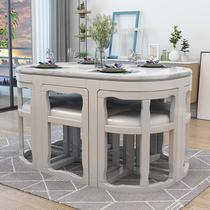 Массивный деревянный обеденный стол мрамор круглый обеденный стол и стулья сочетание домашнего риса простой современный маленький дом невидимый обеденный стол длинный квадрат