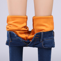 Winter and cashmere thermal elastic high waist thickened slim skinny jeans