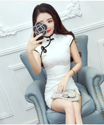 The new spring and summer dress sexy slit jacquard slim slim retro short girl dress daily improvement