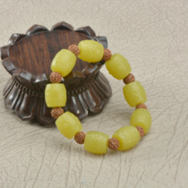 Soapy chanterelle yellow bracelet male and female topaz barrel beads hand string back bead single circle hand string couple natural jade