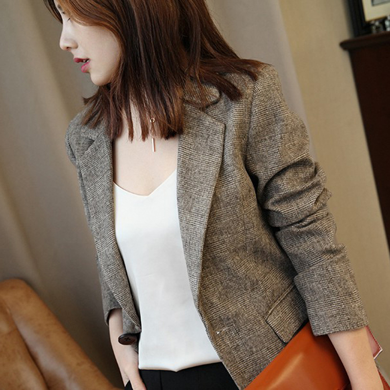 Grid suit jacket female autumn and winter new chic ancient a buckle English style trim wool wool small suit