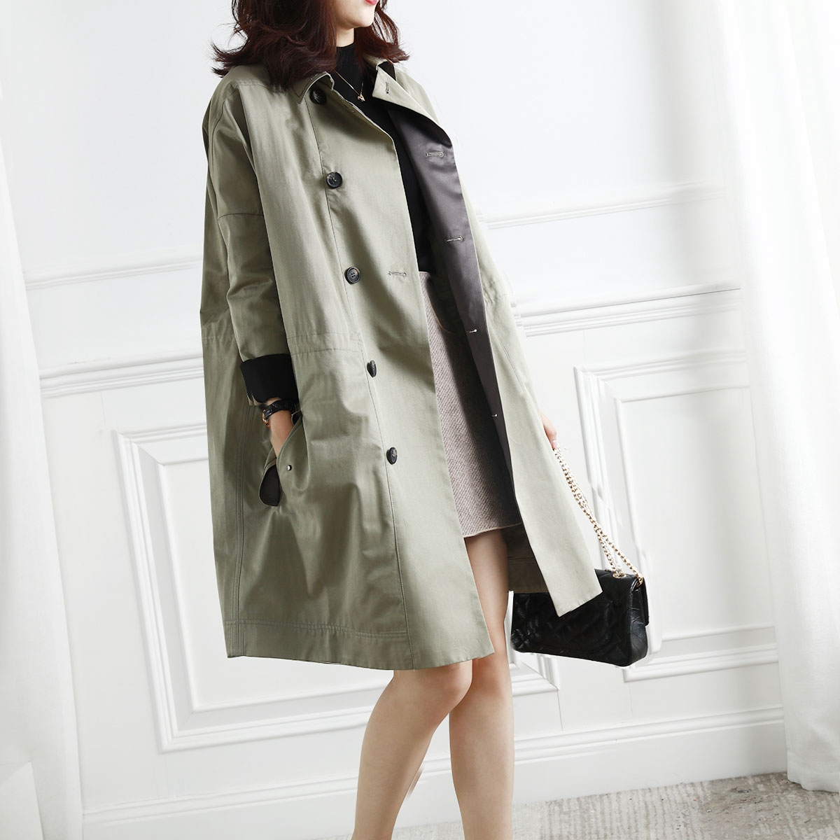 Windshield womens middle-length version of the British wind 2020 autumn new neckline nail beads loose loose tight waist army green coat